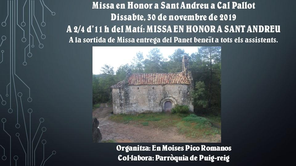 MISSA DE SANT ANDREU A CAL PALLOT